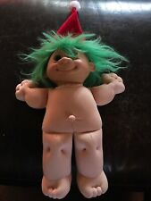 "Vintage Russ Troll Doll 12"" W/Bright Green Hair & Blue Eyes Wearing Santa Hat"