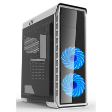 Game Max Elysium White With Blue LED Front Fans ATX Windowed PC Gaming Case