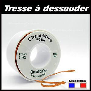 Tresse à dessouder de 50cm à 30m   -  Chem-Wik ROSIN, 0,8mm - 1,5mm -1,9mm