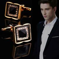 Fashion Men Square Metal Crystal Cuff Links Wedding Party Cufflinks Gold Gift MT