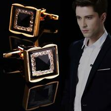 Fashion Men Square Metal Crystal Cuff Links Wedding Party Cufflinks Gold Gift UP