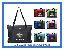NEW ORLEANS SAINTS WITH NAME TOTE PURSE TRAVEL SPORTS GYM SCHOOL BAG ZIPS