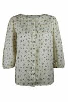 Womens Ladies Cream Meadow Ditsy Floral Cotton Pintuck Detail 3/4 Sleeve Shirt