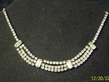 "Vintage Silver Tn Sparkling Rhinestone Choker Necklace Unsigned Beauty 14 3/4"""