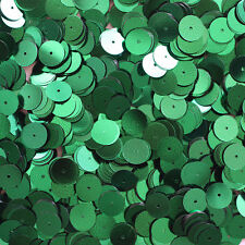 10mm Flat SEQUIN Loose PAILLETTES ~ Emerald GREEN Metallic ~ Disc ~ Made in USA