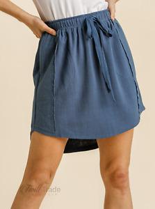Umgee | Denim Linen Blend Drawstring Skirt with Panel Trim | NEW Size: S, M, L