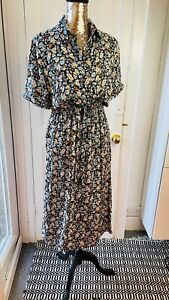 exNew Look Tea Dress Vintage Ditsy Floral Print Size 8 Maxi Long BRAND NEW