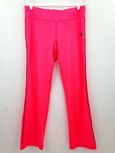 Puma Yoga Pants Neon Pink Womens Large Boot Cut Bubble Gum Black Side Stripe