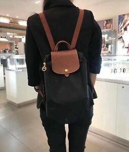 100% Original Auth Longchamp Le Pliage Nylon Zipper Backpack Bag Black