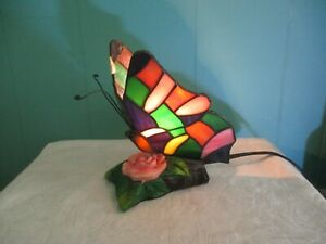 Vintage Tiffany Style Stained Glass Butterfly Accent Lamp Night Light Lamp