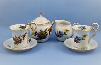 VINTAGE PORCELAIN SET 2 DEMITASSE CUPS, SAUCERS , SUGAR AND CREAMER