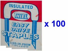 Lot of 100 Thiel INSULATED Easy Drive STAPLES 1125-IN (1-1/4 x 9/16) BX/Romex