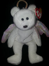 New Rare TY HALO Angel Bear Beanie Baby Rare Tush Tag Brown Nose Errors Mistakes