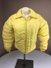 Vtg 70s Alpine Designs BRIGHT YELLOW Puffy Down Jacket Insulated Sz S-M Puffer