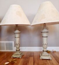 pair of ornate contemporary table lamps with crackle base and paper pulp shades