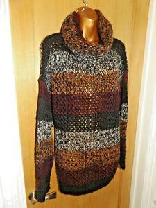 Gorgeous BNWT raspberry peach black chunky knit Joe Browns jumper top size 16-18