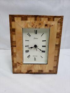 Galassi Picture Frame Clock Analog Roman Numerals Rectangular Inlaid Wood Italy