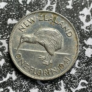 1941 New Zealand 1 Florin Lot#PJ140 Silver! Old Cleaning