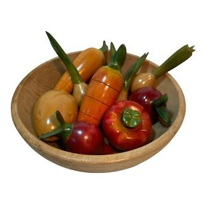 Lot of 10 Wooden Vegetables Vintage Country Decor Vintage Colors Onion Carrot N3