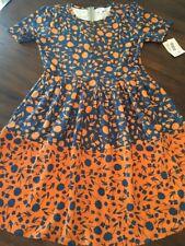 NWT LuLaRoe LLR XL Amelia Pocket Dress Beautiful Blue Rust Dipped Pattern Mixing