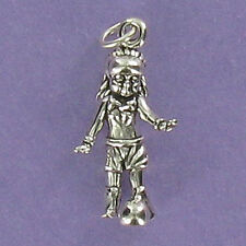 Girl Playing Soccer Charm Sterling Silver for Bracelet Game World Cup Team Ball