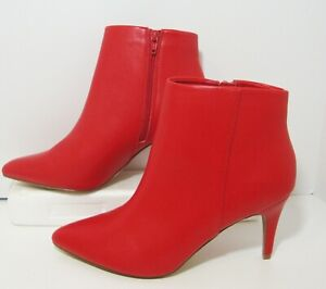 Apt 9 Red Ankle Boot Womens 10 Faux Leather Herringbone Plaid Lining
