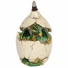 Backflow Incense Burner Green Dragon in Egg Colour Changing LED Lights