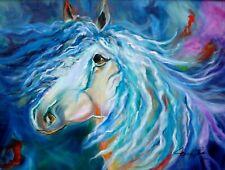 """""""STEED"""" HORSE ABSTRACT,  18""""x24"""" ART DECO HAWAII ARTIST"""
