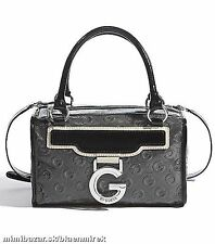 G by GUESS WOMEN'S RAQUELLE DEBOSSED GREY BOX SATCHEL SET HANDBAG