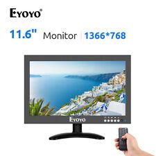 "EYOYO 12"" Inch TFT Monitor 170°Wide Viewing 16:9 1366x768 VGA/AV/BN for PC CCTV"