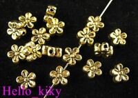 150pcs Antiqued gold plt Flower spacer beads A476
