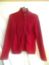 Tommy Hilfiger Woman's Red Cable Knit Turtle Neck Zip Front Sweater