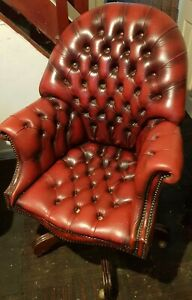 Vintage Chesterfield Directors Swivel Office Chair Armchair Oxblood Leather