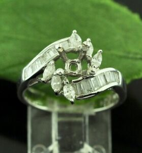 18k Solid White Gold Semi Mount Ladies Natural Diamond Ring baguette 0.65 ct