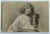 c 1910 Children Chld Kid SMILING LITTLE GIRL w/ Violin Viola photo postcard