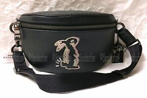 Coach x Selena Gomez 39316 Bunny Belt Bag Fanny Sling Pack BLACK Leather NWT