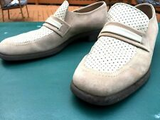 Men's VTG Hush Puppies LOAFERS White & Cream SUEDE 10.5 N SICK  Slip Ons