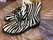 Brand New rare ltd edition Dr Martens Zebra Print  Boots Size 8 Made In England
