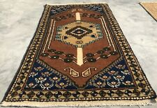 Authentic Hand Knotted Vintage Turkish Wool Area Rug 4.0 x 2.5 Ft (8038 Bn)