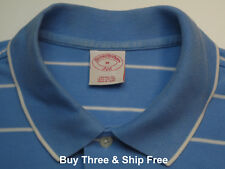 Brooks Brothers Men's M Short Sleeve Blue Striped 100% Cotton Polo Shirt 5952