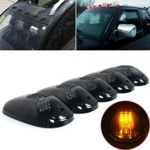 5 Pcs Amber 12 LED Smoke Cab Roof Running Top Marker Lights For Dodge Ram Truck
