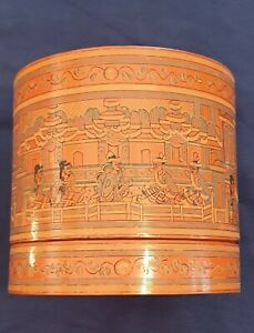 Burmese Asian Red Lacquer Hand Painted Betel Box RARE ANTIQUE 9 x 8 1/2 inches