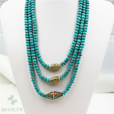 Natural Turquoise Nepal Multiple Circles Necklace 18-20inch Jewelry Handmade