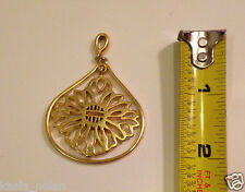 "Vtg Pendant Necklace Gold Tone Cut Out Flower Sunburst Sunflower Edelweiss 2"" 3D"