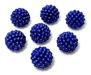 30 Dark Blue Violet 14mm Round Pearls Pearl Raspberry Cluster Beaded Craft Beads