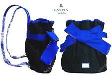LANVIN en Bleu Japan Ltd Backpack Bag w/Grosgrain Big Ribbon-Black & Blue-NWT