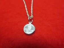 """Rope Anklet W/Mini Lucky Penny- Usa Seller 14Kt White Gold Plated 10 1/2"""" 1.6Mm"""