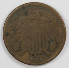 1866 Two Cent Early US Type Coin 2C