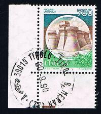 ITALIA 1 FRANCOBOLLO CASTELLI D'ITALIA ROCCA DI URBISAGLIA 1990 timbrato