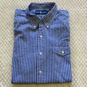 RALPH LAUREN Men's Blue Striped Long Sleeve Button Up Shirt ~ Size L